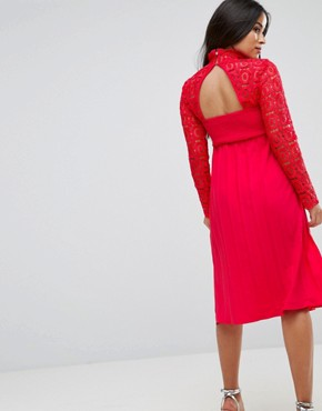 photo Premium Lace Pleated Midi Dress by Little Mistress Maternity, color Red - Image 2