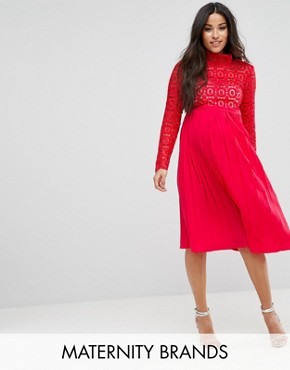 photo Premium Lace Pleated Midi Dress by Little Mistress Maternity, color Red - Image 1