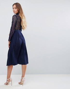photo Premium Lace Pleated Midi Dress by Little Mistress Tall, color Navy - Image 2