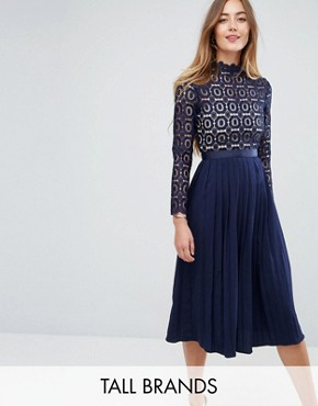 photo Premium Lace Pleated Midi Dress by Little Mistress Tall, color Navy - Image 1