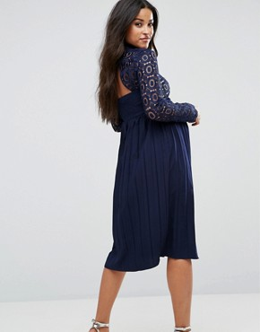 photo Premium Lace Pleated Midi Dress by Little Mistress Maternity, color Navy - Image 2