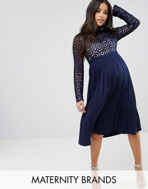 photo Premium Lace Pleated Midi Dress by Little Mistress Maternity, color Navy - Image 1