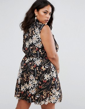 photo Shirt Dress in Floral Butterfly Print by Praslin, color Black - Image 2