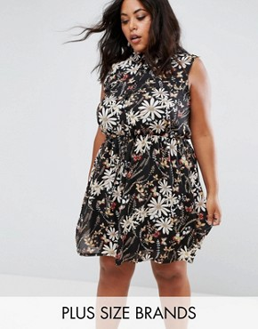 photo Shirt Dress in Floral Butterfly Print by Praslin, color Black - Image 1