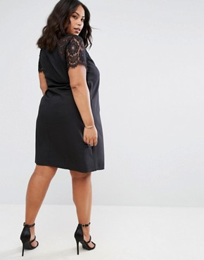 photo Swing Dress with Lace Sleeves by Praslin, color Black - Image 2