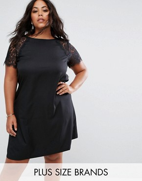 photo Swing Dress with Lace Sleeves by Praslin, color Black - Image 1