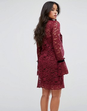 photo Long Sleeve Lace Shift Dress by Hope & Ivy Maternity, color Berry - Image 2