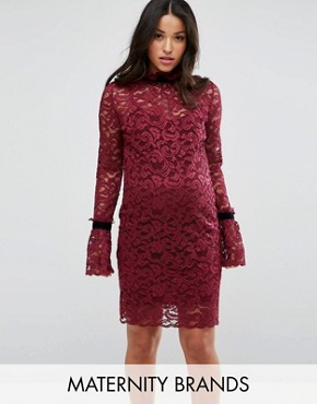 photo Long Sleeve Lace Shift Dress by Hope & Ivy Maternity, color Berry - Image 1