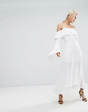 photo Compose Ruffle Maxi Dress by C/meo Collective, color Ivory - Image 1