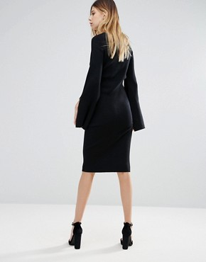 photo Bodycon Sweater Dress with Flared Sleeve by Lunik, color Black - Image 2