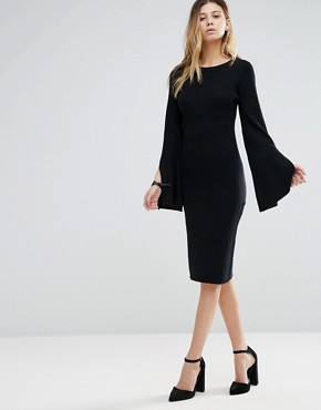 photo Bodycon Sweater Dress with Flared Sleeve by Lunik, color Black - Image 1