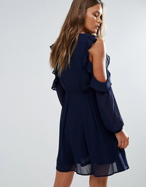 photo Cold Shoulder Ruffled Dress by Lunik, color Navy - Image 2