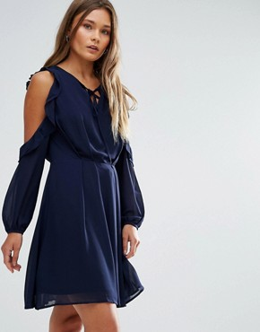 photo Cold Shoulder Ruffled Dress by Lunik, color Navy - Image 1