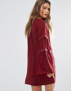 photo Bell Sleeve Tunic Dress by Lunik, color Wine - Image 2