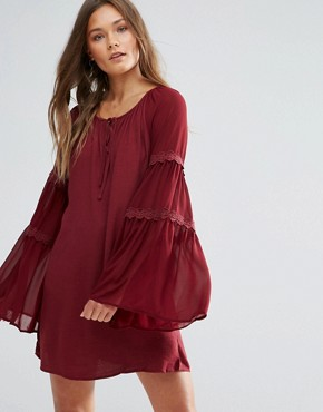 photo Bell Sleeve Tunic Dress by Lunik, color Wine - Image 1