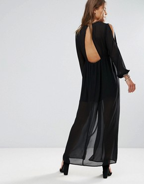photo Shoulder Cut Out Maxi Dress with Button Hold Trim by Lunik, color Black - Image 2