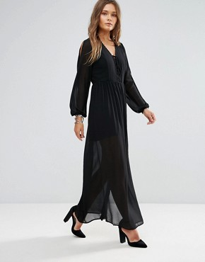 photo Shoulder Cut Out Maxi Dress with Button Hold Trim by Lunik, color Black - Image 1