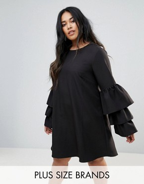 photo Tiered Sleeve Shift Dress by Unique 21 Hero Plus, color Black - Image 1