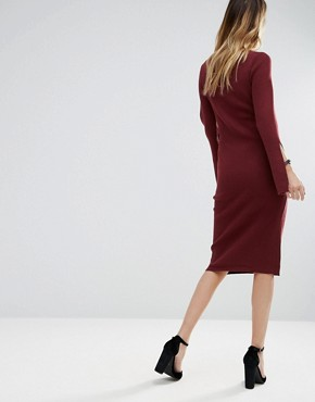 photo Bodycon Sweater Dress with Flared Sleeve by Lunik, color Fig - Image 2