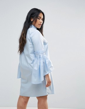 photo Shirt Dress with Gathered Bell Sleeves by Unique 21 Hero Plus, color Baby Blue - Image 2