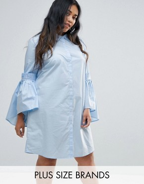 photo Shirt Dress with Gathered Bell Sleeves by Unique 21 Hero Plus, color Baby Blue - Image 1