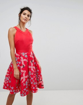 photo Full Skirted Kyoto Gardens Dress by Ted Baker, color Red - Image 1