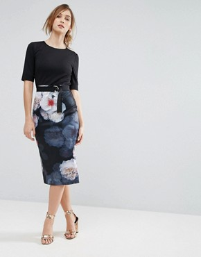 photo Bodycon Dress in Chelsea Print by Ted Baker, color Black - Image 1