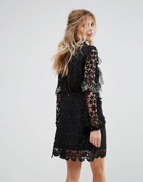 photo Lace and Metallic Mini Dress by Stevie May, color Black - Image 2