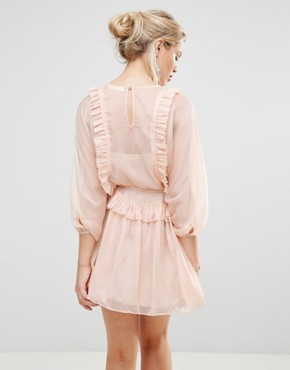 photo Whistlers Exclusive Frill Mini Dress by Stevie May, color Dusty Pink - Image 2