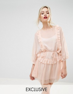 photo Whistlers Exclusive Frill Mini Dress by Stevie May, color Dusty Pink - Image 1
