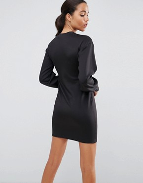 photo Mini Column Dress with Balloon Sleeves and Buckle Details by ASOS, color Black - Image 2