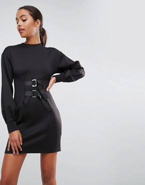 photo Mini Column Dress with Balloon Sleeves and Buckle Details by ASOS, color Black - Image 1