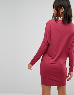 photo Crepe Column Dress with Drape Shoulder & Batwing Sleeves by ASOS, color Oxblood - Image 2
