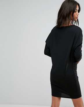 photo Crepe Column Dress with Drape Shoulder & Batwing Sleeves by ASOS, color Black - Image 2