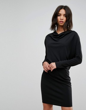 photo Crepe Column Dress with Drape Shoulder & Batwing Sleeves by ASOS, color Black - Image 1