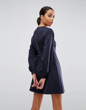 photo Mini Skater Dress with Balloon Sleeves by ASOS, color Navy - Image 2
