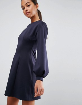 photo Mini Skater Dress with Balloon Sleeves by ASOS, color Navy - Image 3