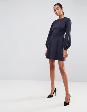 photo Mini Skater Dress with Balloon Sleeves by ASOS, color Navy - Image 4