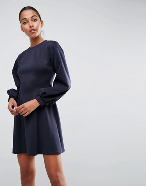 photo Mini Skater Dress with Balloon Sleeves by ASOS, color Navy - Image 1