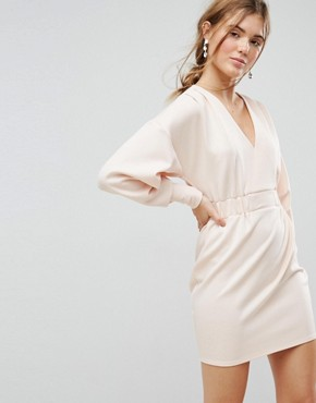 photo Mini V-Neck Dress with Elastic Cuff & Waist Detail by ASOS, color Nude - Image 1