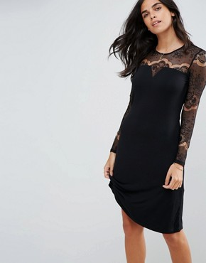 photo Ciccu Long Lace Sleeved Shift Dress by Y.A.S, color Black - Image 1