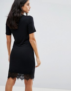 photo Cigaro Lace Yolk Mini Dress by Y.A.S, color Black - Image 2