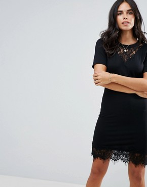 photo Cigaro Lace Yolk Mini Dress by Y.A.S, color Black - Image 1