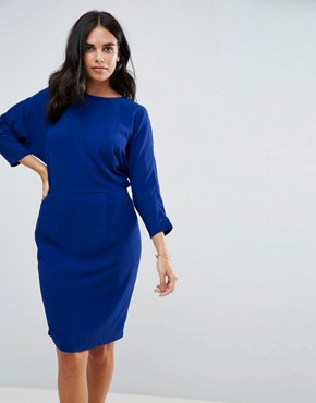 photo Cecca Open Wrap Back Tulip Dress by Y.A.S, color Cobalt - Image 1