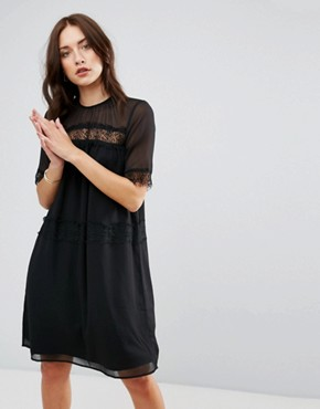 photo Cicotta Lace Insert Dress by Y.A.S, color Black - Image 1
