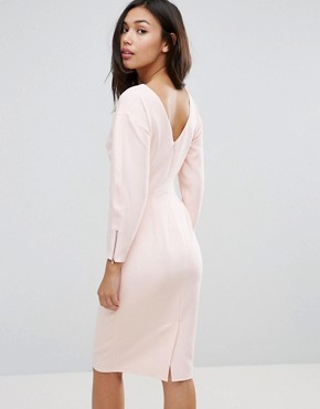 photo Clean Dome Sleeve Midi Pencil Dress by ASOS 80's, color Blush - Image 2