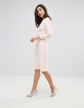 photo Clean Dome Sleeve Midi Pencil Dress by ASOS 80's, color Blush - Image 4