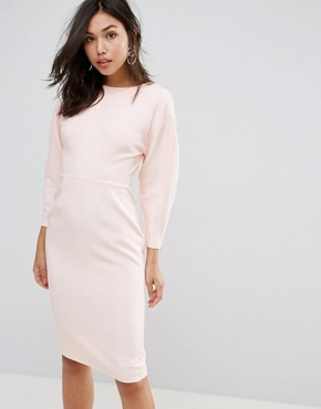 photo Clean Dome Sleeve Midi Pencil Dress by ASOS 80's, color Blush - Image 1
