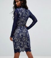 photo Francis Long Sleeve Lace Dip Hem Bodycon Dress Navy by Girl in Mind, color Navy - Image 2