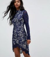 photo Francis Long Sleeve Lace Dip Hem Bodycon Dress Navy by Girl in Mind, color Navy - Image 1
